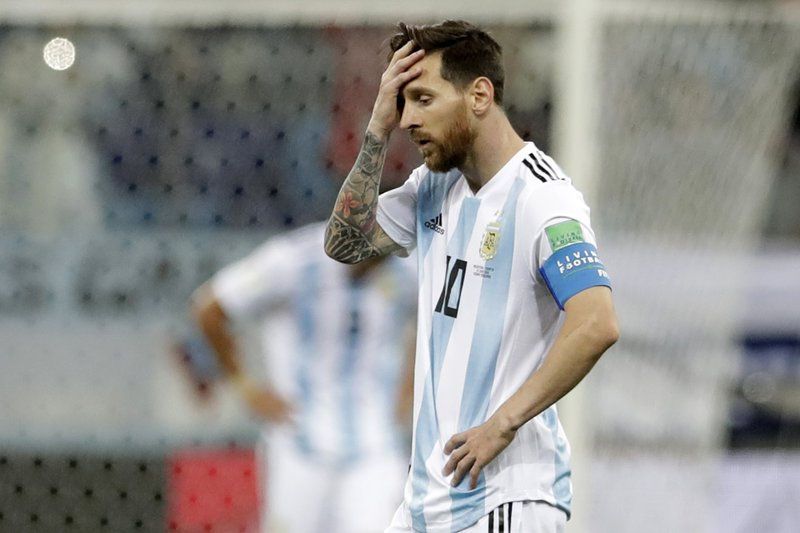 Argentina's Lionel Messi reacts after the third goal of Croatia during the group D match between Argentina and Croatia at the 2018 soccer World Cup in Nizhny Novgorod Stadium in Nizhny Novgorod, Russia, Thursday, June 21, 2018. Croatia won 3-0.