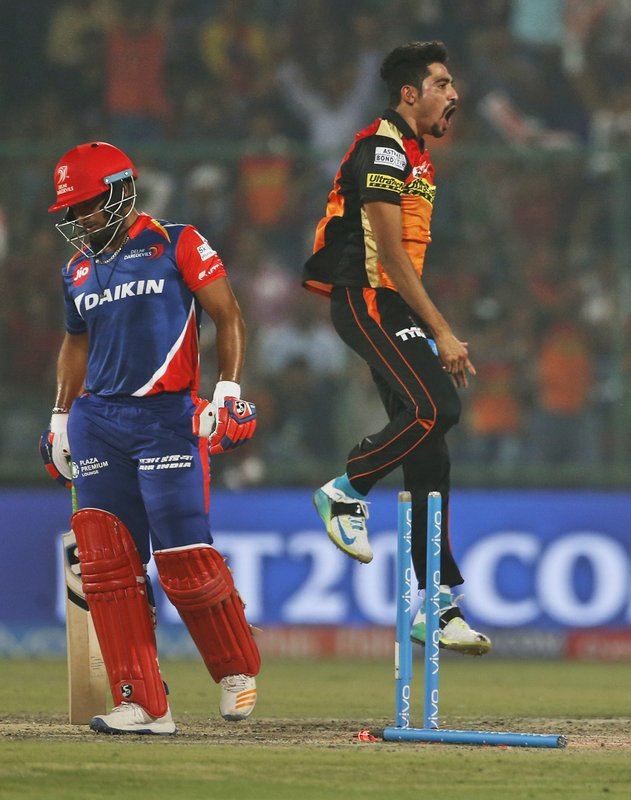 Sunrisers Hyderabad's bowler Mohammed Siraj, right, leaps in air as he celebrates the wicket of Delhi Daredevils' batsman Rishabh Pant during their Indian Premier League (IPL) cricket match in New Delhi, India, Tuesday, May 2, 2017.