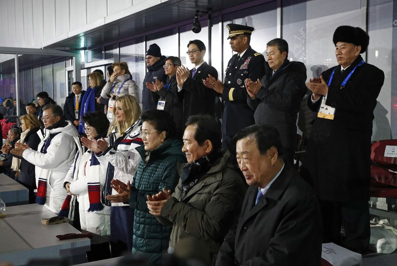 Ivanka Trump, Liu Yandong, Kim Jung-sook, Moon Jae-in, Kim Yong Chol