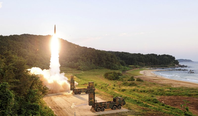 "In this Monday, Sept. 4, 2017, file photo provided by South Korea Defense Ministry, South Korea's Hyunmoo II ballistic missile is fired during an exercise at an undisclosed location in South Korea. In South Korea, the nation's military said it conducted a live-fire exercise simulating an attack on North Korea's nuclear test site to ""strongly warn"" Pyongyang over the latest nuclear test. Seoul's Joint Chiefs of Staff said the drill involved F-15 fighter jets and the country's land-based ""Hyunmoo"" ballistic missiles. The released live weapons ""accurately struck"" a target in the sea off the country's eastern coast, the JCS said."