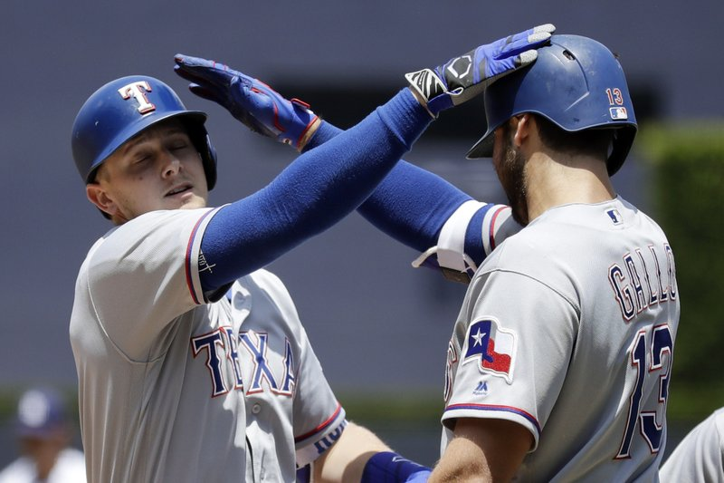 Texas Rangers' Ryan Rua, left, is greeted by teammate Joey Gallo after hitting a three-run home run during the first inning of a baseball game against the San Diego Padres, Tuesday, May 9, 2017, in San Diego. (AP Photo/Gregory Bull)