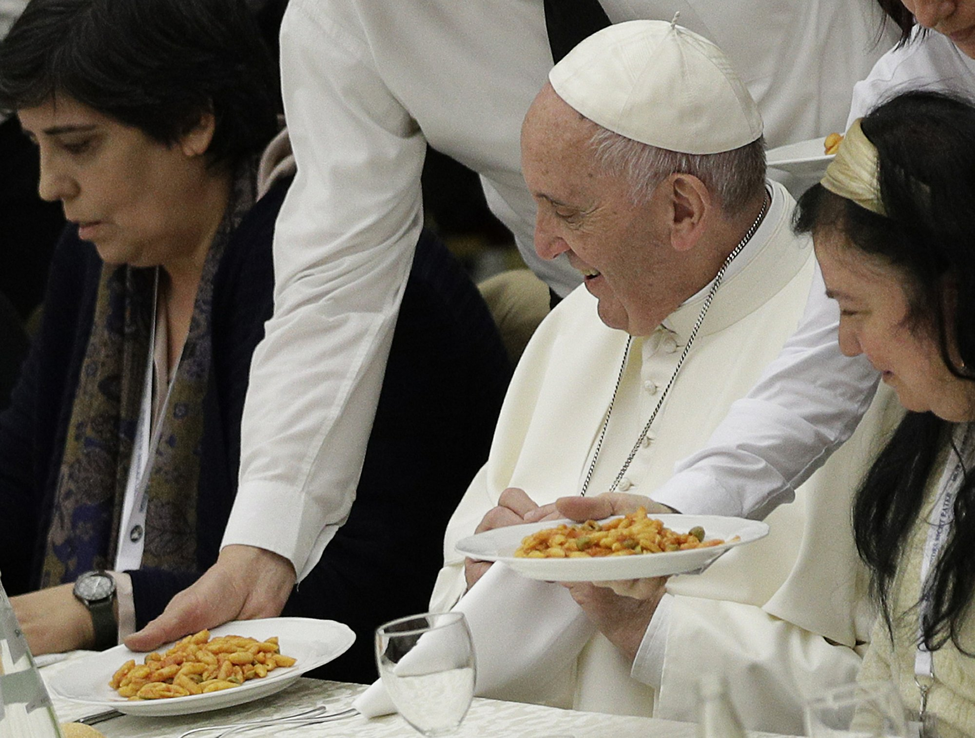 Image result for Pope Francis' lunch with the poor
