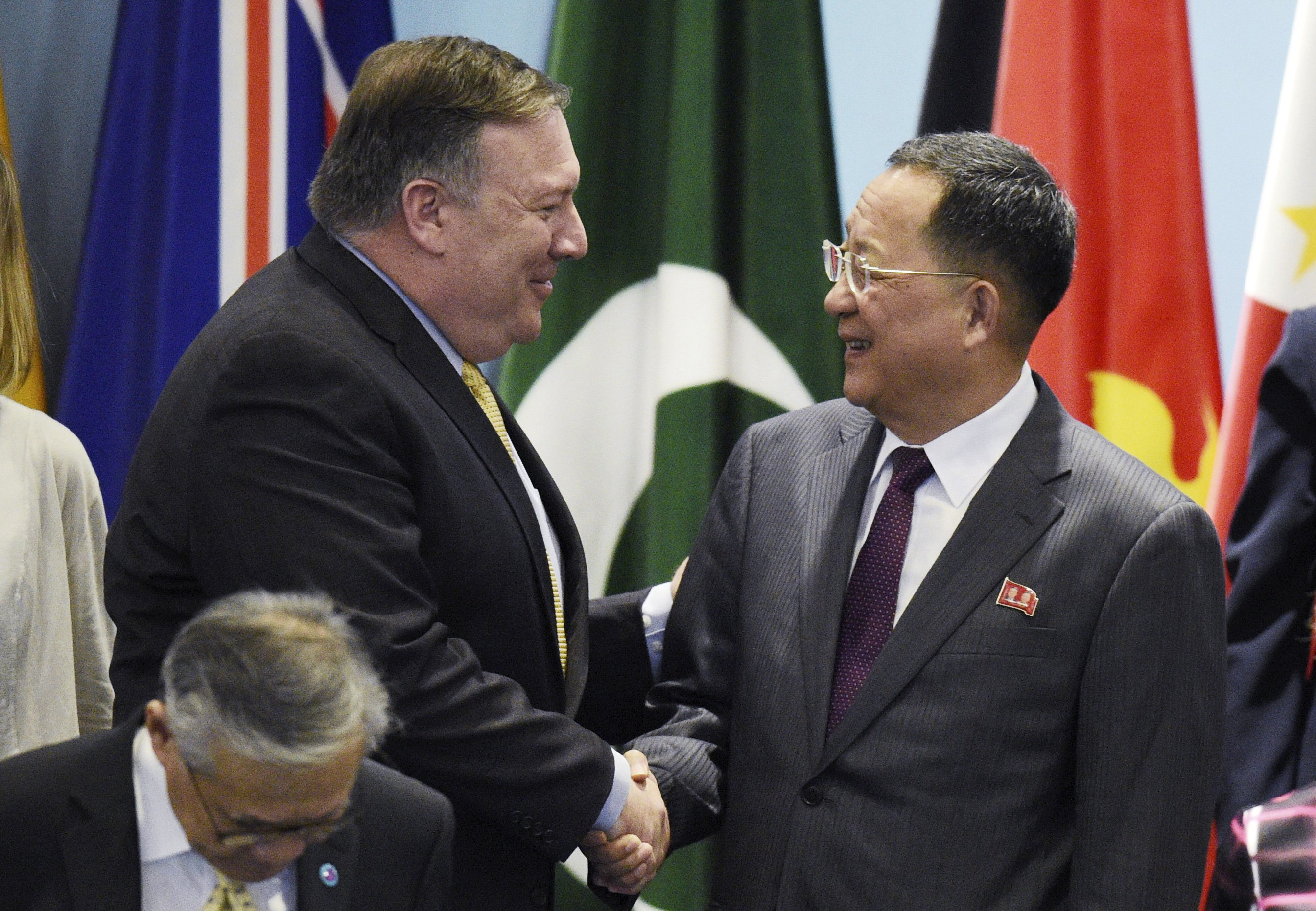 US, North Korean top diplomats exchange pleasantries, barbs