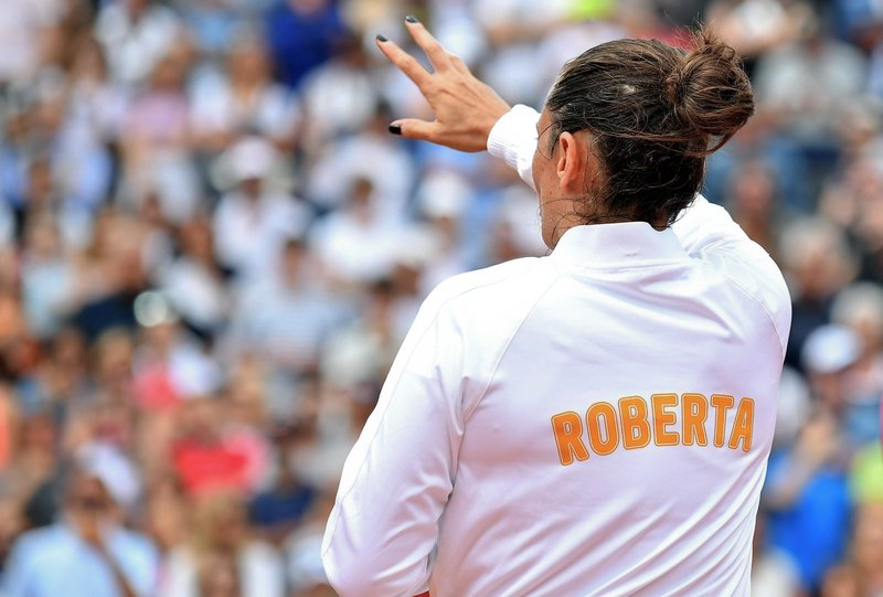 Italy's Roberta Vinci waves to the audience at the Italian Open tennis  tournament in Rome, Monday, May 14, 2018. Former U.S. Open finalist Roberta  Vinci bid ...