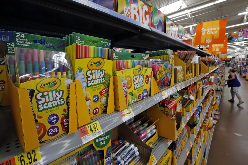 file this july 19 2018 file photo shows a display of scented markers and crayons in a walmart in pittsburgh walmart inc reports earnings on thursday