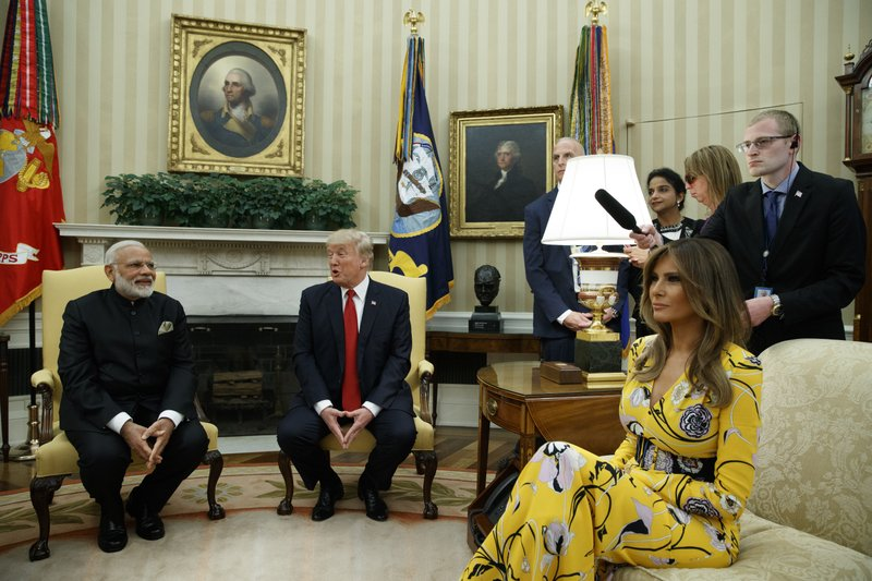Donald Trump, Narendra Modi, Melania Trump
