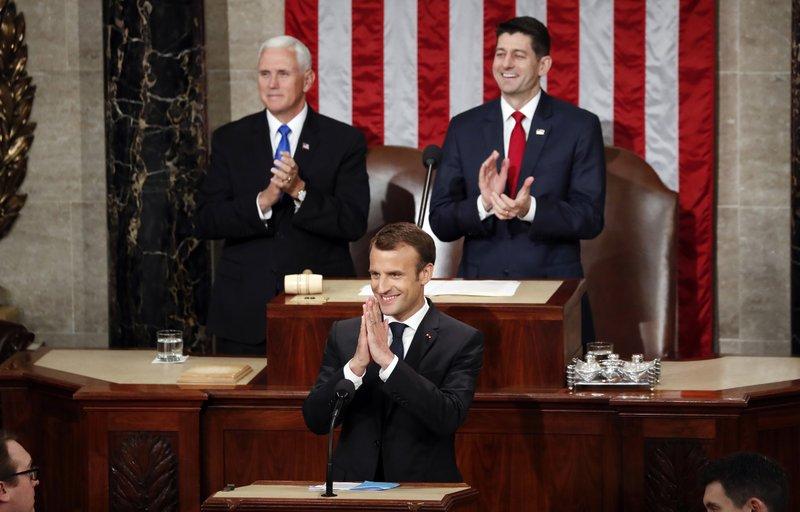 Emmanuel Macron, Mike Pence, Paul Ryan