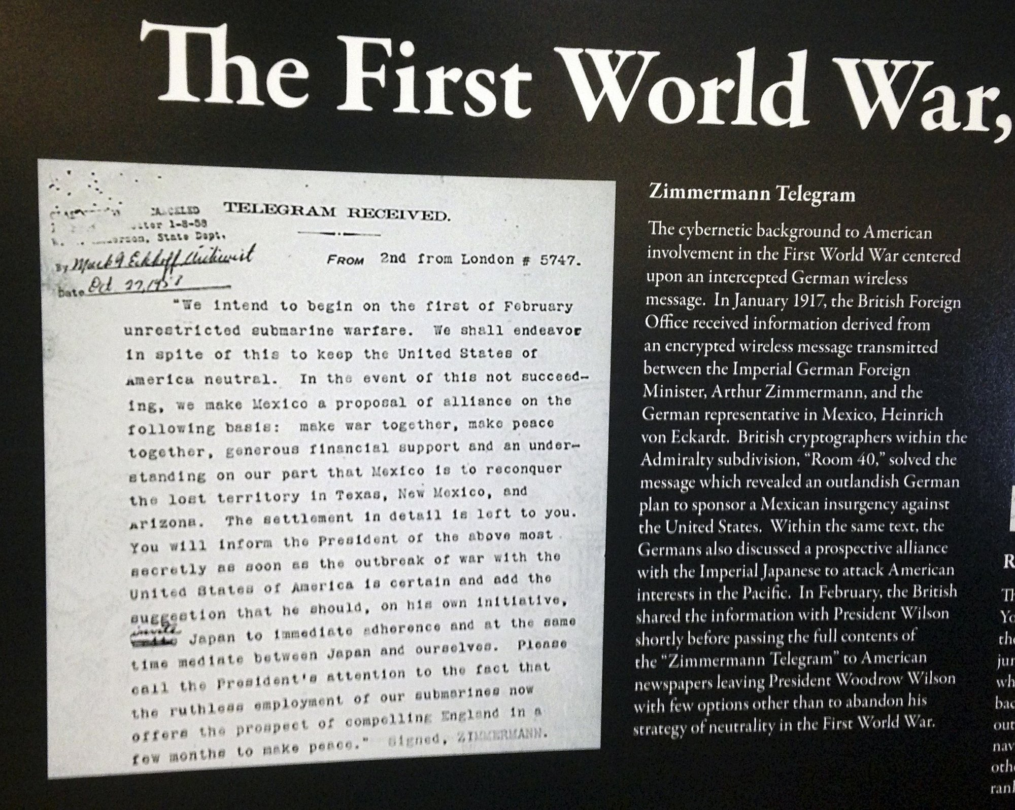 Secret WWI telegram holds lessons for today, historians say