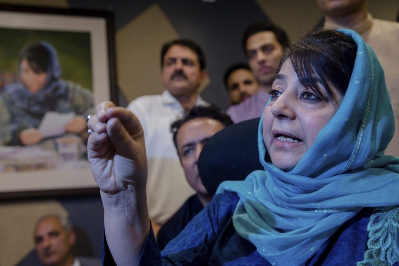 People's Democratic Party leader Mehbooba Mufti addresses the media after resigning as the chief minister of Jammu and Kashmir in Srinagar, Indian controlled Kashmir, Tuesday, June 19, 2018.