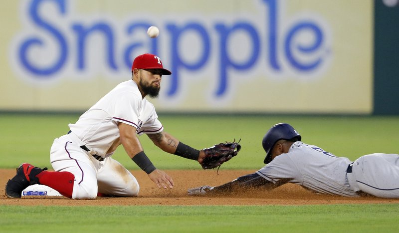 Texas Rangers second baseman Rougned Odor is unable to secure the throw to the bag as San Diego Padres' Erick Aybar steals second in the fourth inning of a baseball game, Wednesday, May 10, 2017, in Arlington, Texas. Akbar stole second during a Hunter Renfroe at bat. (AP Photo/Tony Gutierrez)
