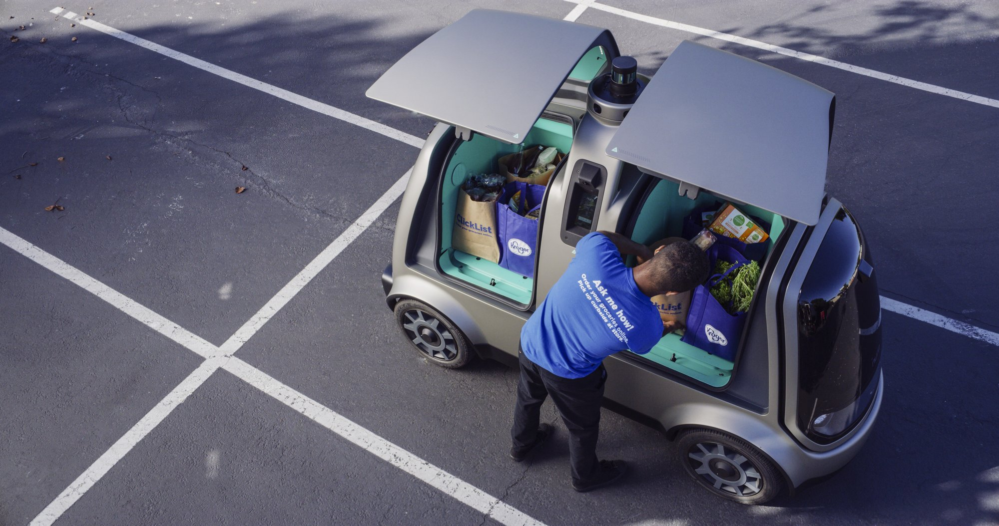 Grocery delivery, with no humans drivers, underway...