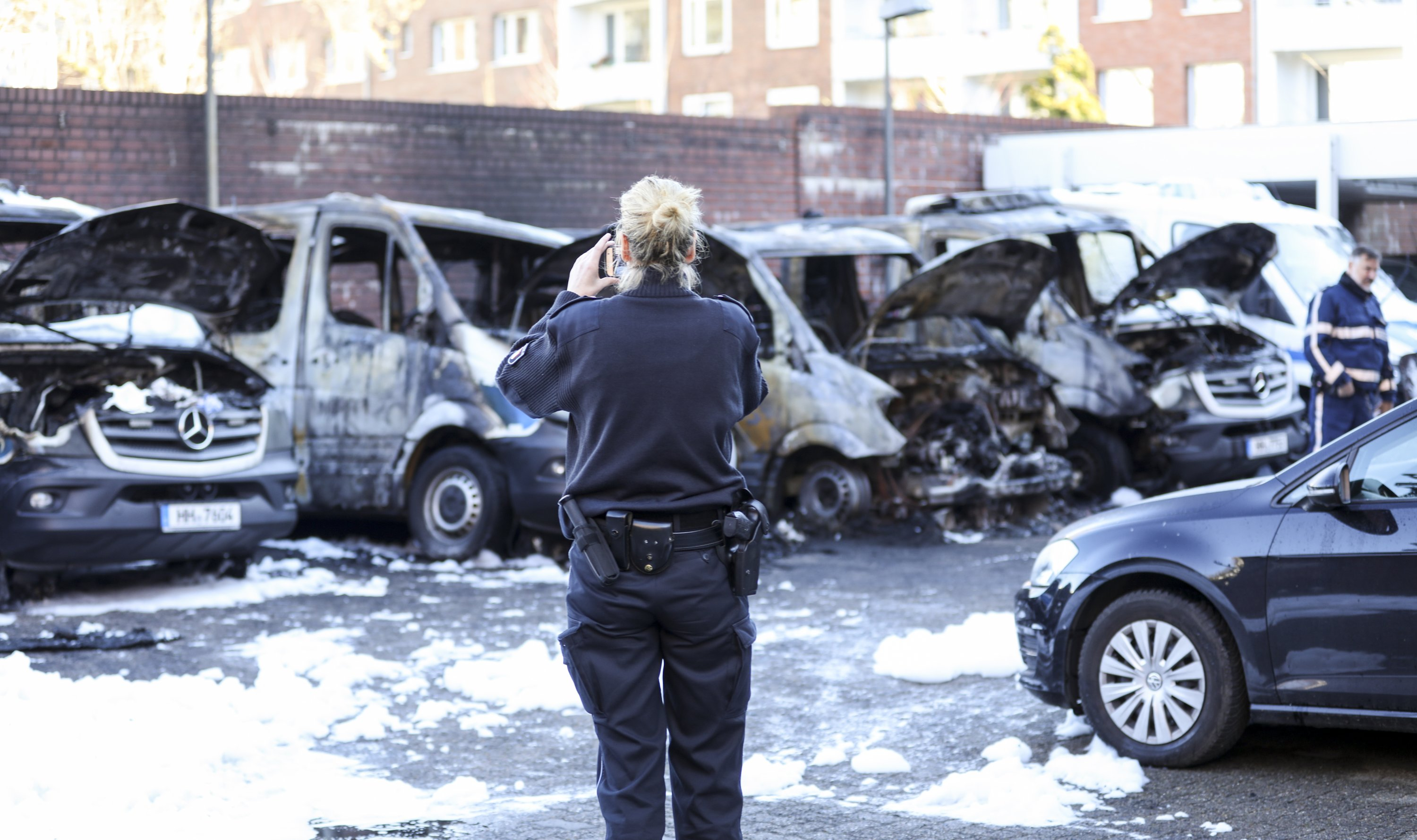German police vehicles torched in Hamburg anti-G20 protest