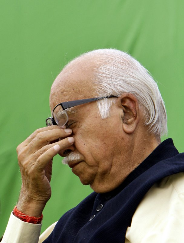 In this April 14, 2009 file photo, India's opposition Bharatiya Janata Party leader L.K. Advani gestures during an event to mark the birth anniversary of Bhim Rao Ambedkar, a prominent freedom fighter and the chief architect of the Indian Constitution, at the party office in New Delhi, India. India's top court said on Wednesday, April 19, 2017, that several senior leaders of India's ruling Hindu nationalist Bharatiya Janata Party, including Advani, will stand trial for their role in a criminal conspiracy to destroy a 16th-century mosque in 1992.