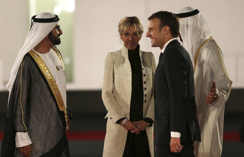 Emmanuel Macron, Mohammed bin Zayed al-Nahayan, Mohammed bin Rashid al Maktoum