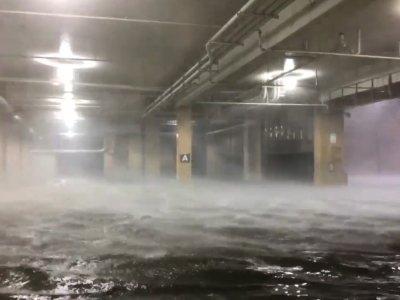 Dramatic scene as storm surge floods Biloxi casino car park