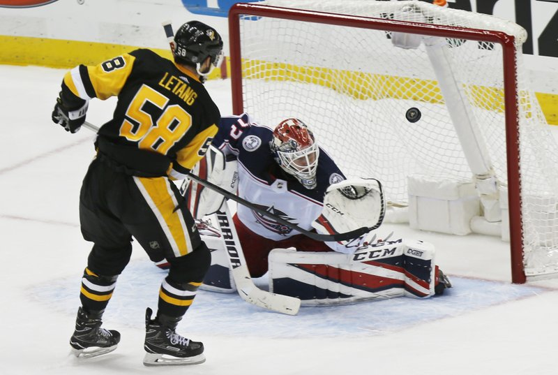 low priced 9b4d6 c13da Letang gets winning goal in shootout, Pens top Blue Jackets
