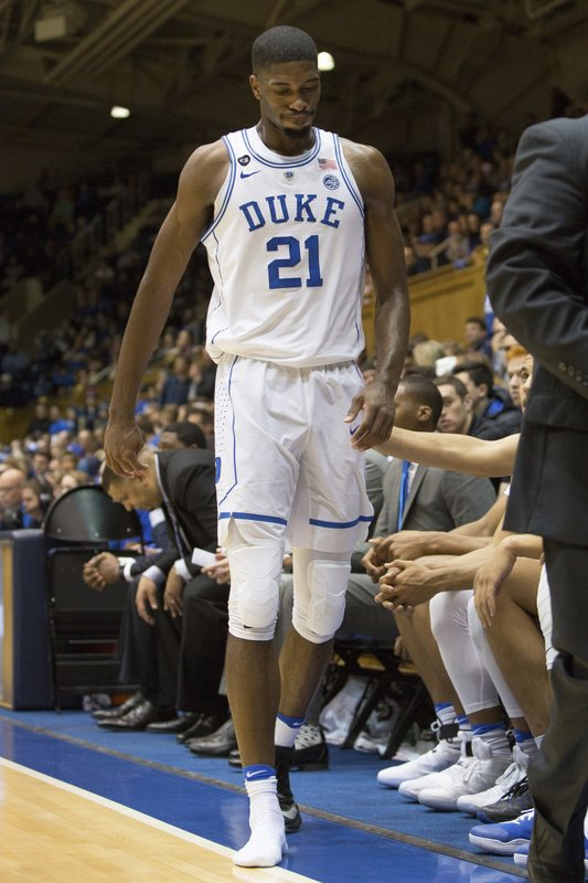 new style d66b1 4fcca Duke's Jefferson to miss FSU game with bone bruise in foot