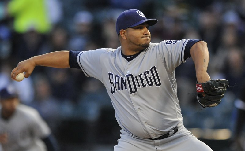 San Diego Padres starter Jhoulys Chacin delivers a pitch during the first inning of an interleague baseball game against the Chicago White Sox, Friday, May 12, 2017, in Chicago. (AP Photo/Paul Beaty)