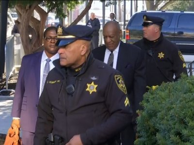 Protester Confronts Cosby on Court Arrival