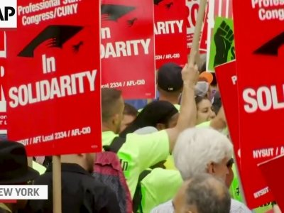 NY Unions Protest Supreme Court Ruling