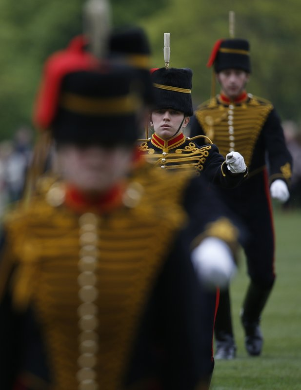 Members of the King's Troop Royal Horse Artillery take part in a ceremonial 41 gun salute in Hyde Park to mark Britain's Queen Elizabeth II 's 91st birthday, in London, Friday, April 21, 2017.