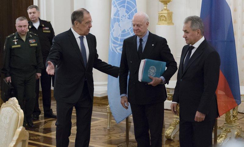Sergey Lavrov, Sergei Shoigu, Staffan de Mistura
