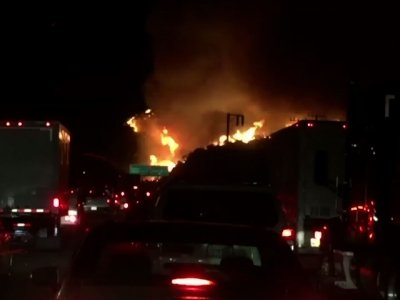Motorists Witness Wildfire Near LA Freeway