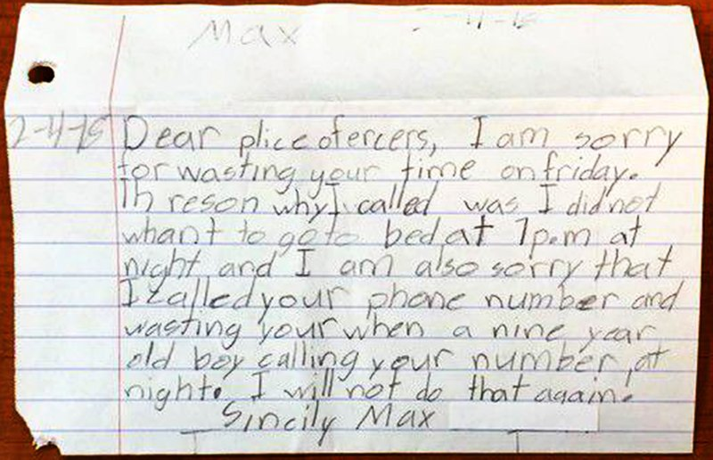 Boy, 9, called 911 because of early bedtime, then wrote