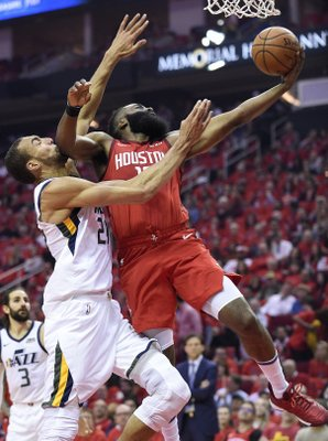 787a7452734c HOUSTON (AP) — The Utah Jazz tried to force the left-handed James Harden to  his right to make things more difficult on him on Game 1 of their  first-round ...