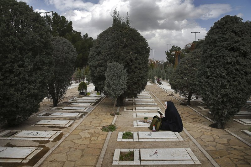 "An Iranian woman prays at the graves of unknown soldiers who were killed during 1980-88 Iran-Iraq war, at the Behesht-e-Zahra cemetery just outside Tehran, Iran, Monday, March 20, 2017, on the eve of the Iranian New Year, or Nowruz. Nowruz which means ""New Day"" in Persian, marks the first day of spring and the beginning of the year on the Iranian calendar, which occurs exactly on the Spring Equinox."