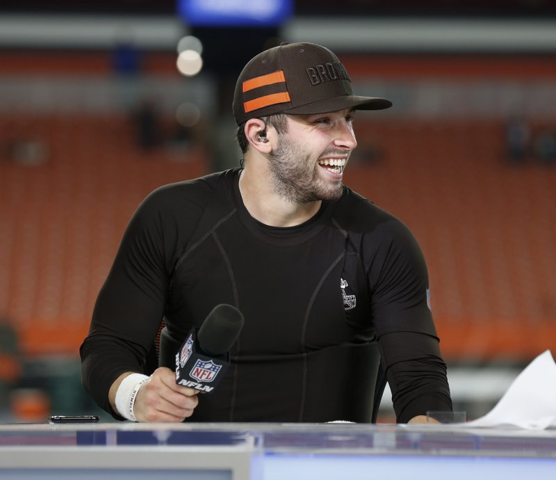5a6b8c9b435 20, 2018, file photo, Cleveland Browns quarterback Baker Mayfield gets  interviewed at the on-field set for Thursday Night Football after an NFL  football ...