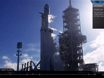 SpaceX Launches Huge Rocket on First Test Flight