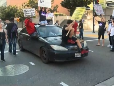 Raw: Demonstrators March in Sacramento Streets