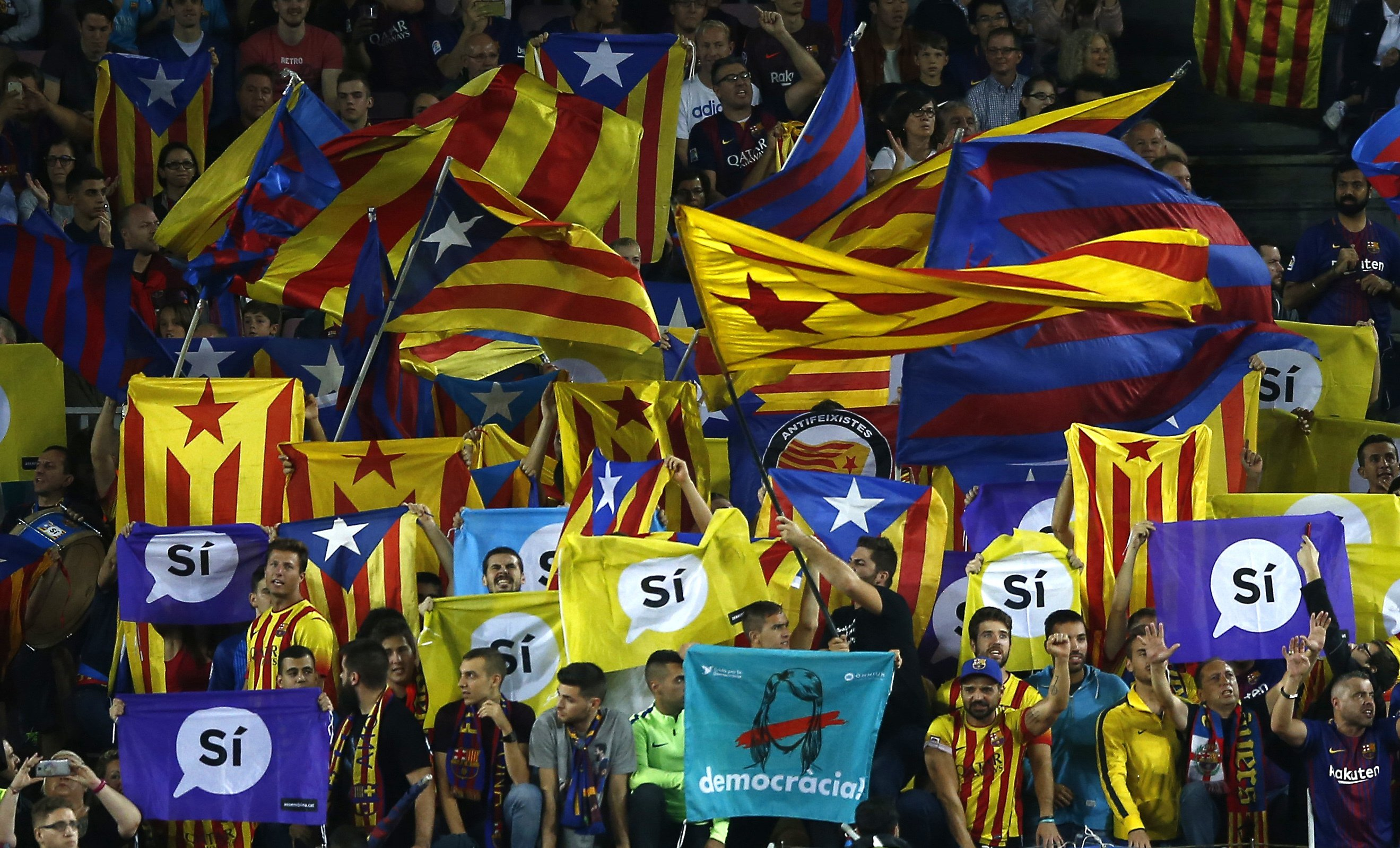 Barcelona's vast stadium gives voice to Catalan separatism