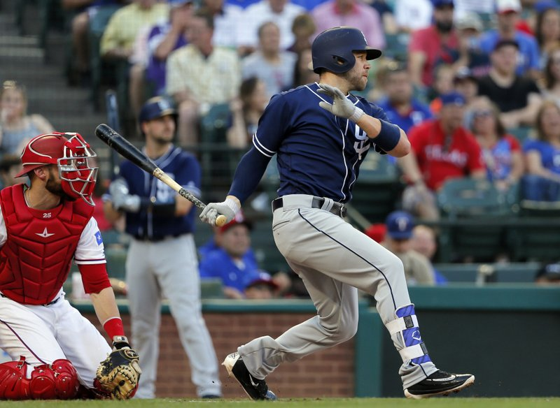 San Diego Padres' Ryan Schimpf follows through on an RBI single to left off Texas Rangers starter Martin Perez during the first inning of a baseball game, Thursday, May 11, 2017, in Arlington, Texas. (AP Photo/Tony Gutierrez)