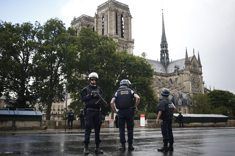 Image result for images of police guarding Notre Dame in Paris