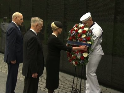 Cindy McCain places wreath at Vietnam memorial