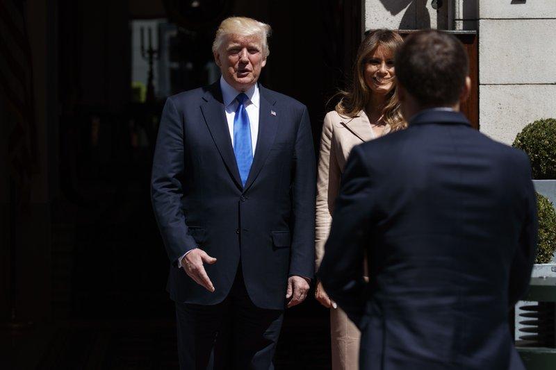 Donald Trump, Emmanuel Macron, Melania Trump