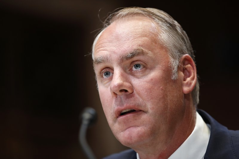 FILE   In This May 10, 2018, File Photo, Interior Secretary Ryan Zinke  Testifies At A Senate Appropriations Subcommittee Hearing On The FY19  Budget, ...
