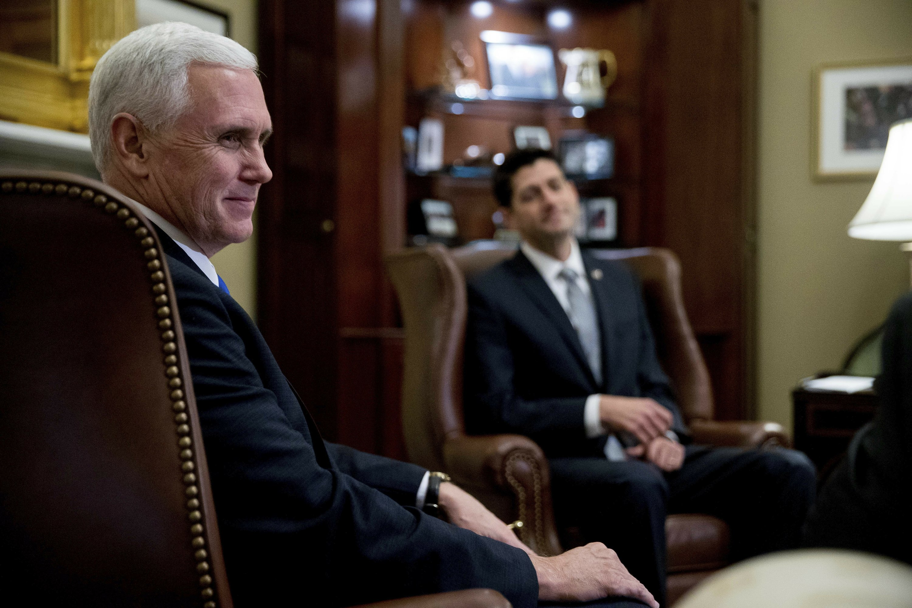 The Latest: Pence says he's eager to work with Congress