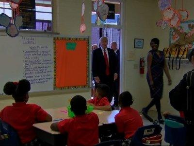 Trump Tours Private School in Florida