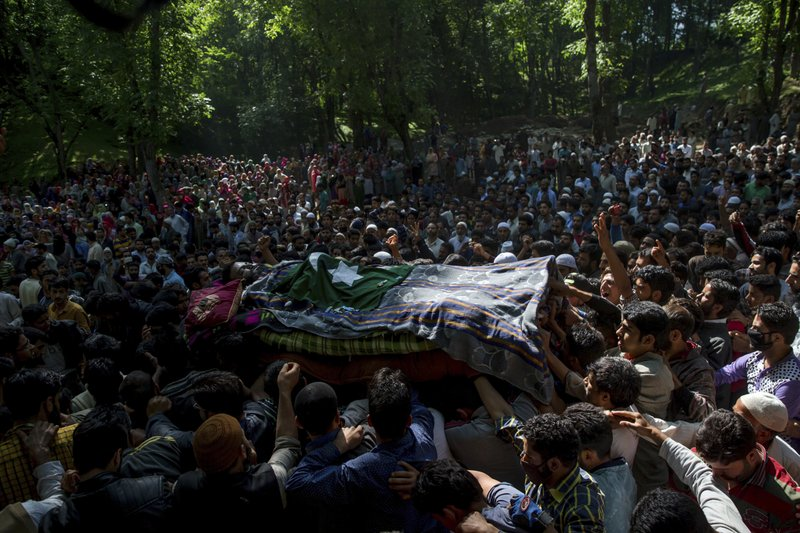 Massive security across Kashmir valley as Hizbul militant Bhat is buried