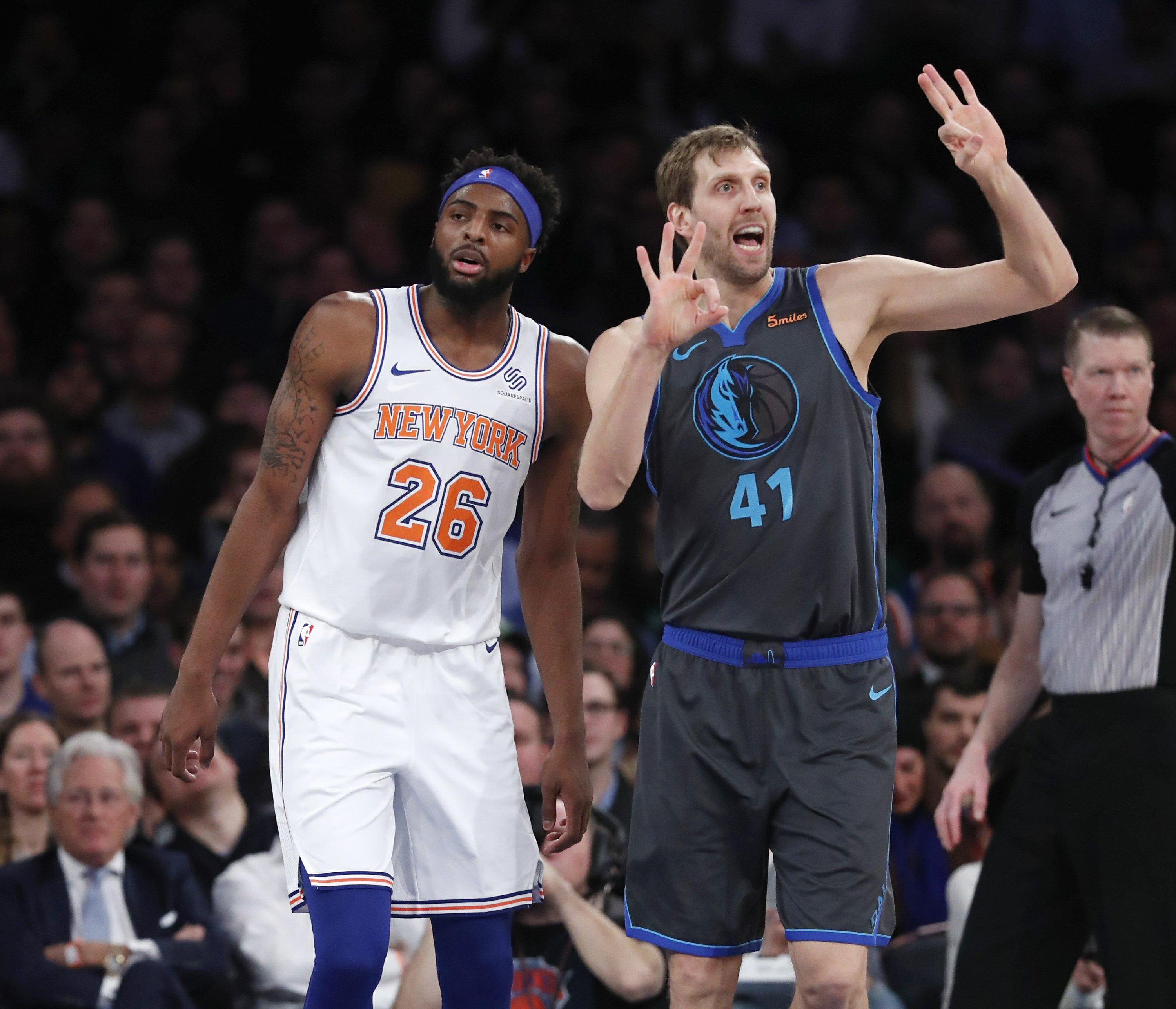 best service 1fead 83796 Dirk, Doncic help Mavs rout Knicks; Kanter gets some minutes