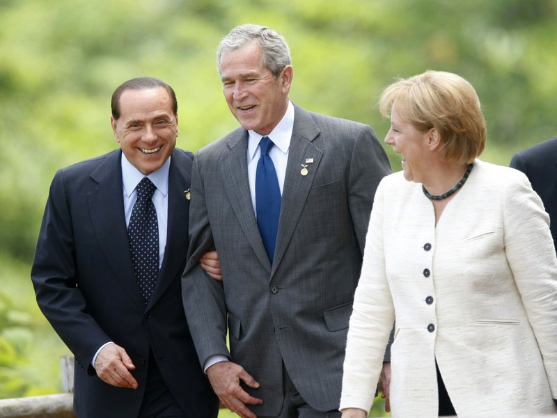 Silvio Berlusconi, Angela Merkel, George W. Bush