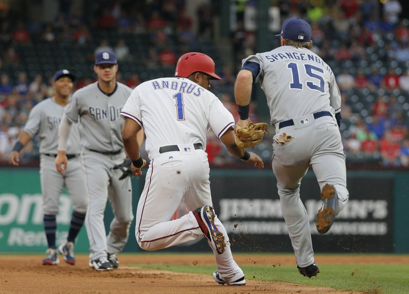 Texas Rangers shortstop Elvis Andrus (1) is chases by San Diego Padres third baseman Cory Spangenberg (15) as he get caught in a rundown during the first inning of a baseball game, Wednesday, May 10, 2017, in Arlington, Texas. Andrea was out on the play. (AP Photo/Tony Gutierrez)
