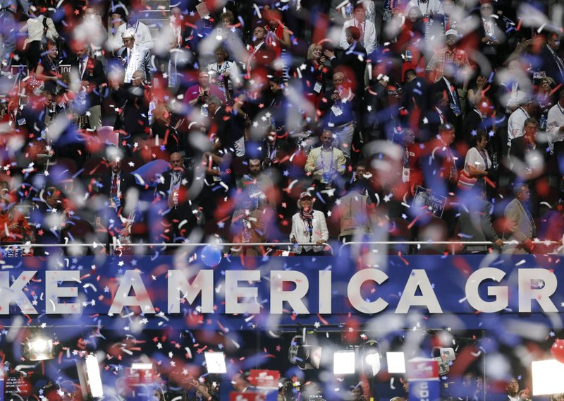 The Latest: Convention's balloon drop doesn't disappoint