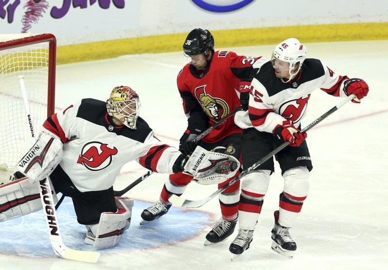 Duchene leads undermanned Senators to 5-3 win over Devils