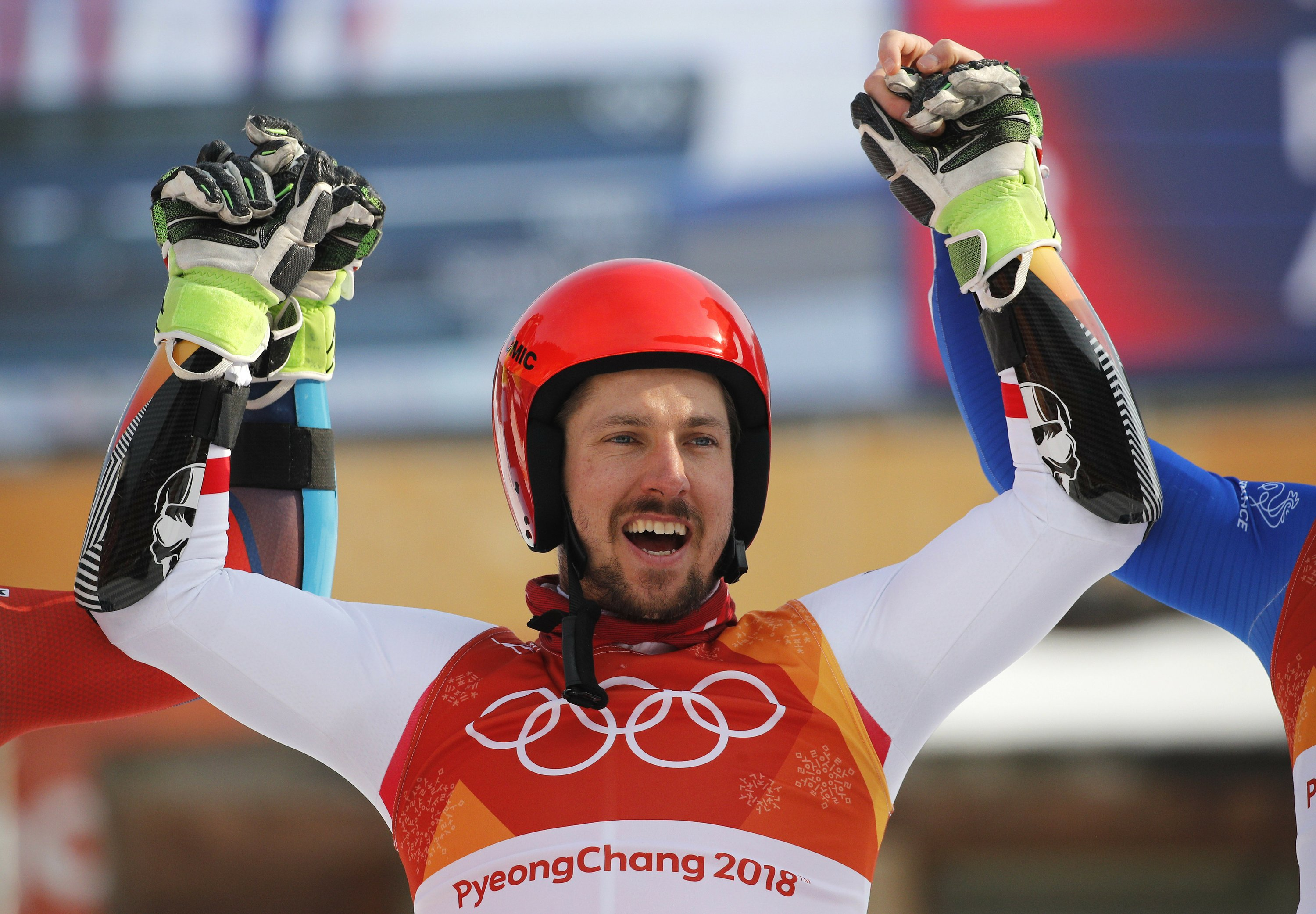 The Latest: Contrasting games doubles for Hirscher, Fourcade