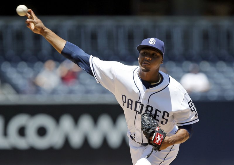 San Diego Padres starting pitcher Luis Perdomo throws to the plate during the first inning of a baseball game against the Colorado Rockies in San Diego, Thursday, May 4, 2017. (AP Photo/Alex Gallardo)
