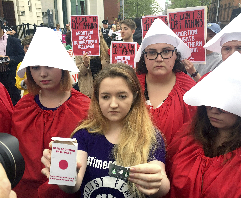 Women take abortion pills in Northern Ireland protest